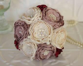 Fabric Flower and Brooch Wedding Toss Bouquet, Cream and Dusty Pink Toss Bouquet, Throw Bouquet, Prom Bouquet