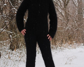 New Hand Knitted Mohair Pants,Sexy Union Suit,Black,Thick and Fuzzy,Handmade