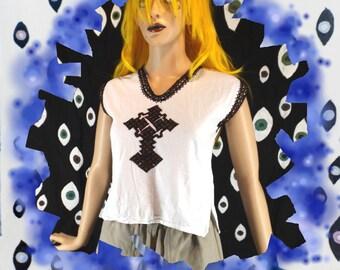 Celtic Cross Embroidered Top *70s* Sm XS Handmade Peasant Renaissance Gothic Primitive Christian Boho Hippie LARP Costume Druid