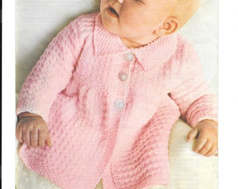 Vintage knitting pattern for a double knitting coat to fit age 6 months - 2 years - pdf