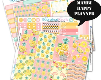 Tropical Summer Stickers Planner Kit 200+ Happy Planner Sticker, Mambi Planner Sticker kit, Pineapple Weekly Planner Kit #SQ00607-MHP