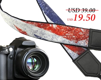 Vintage flag. Old UK flag camera strap. Flag of Great Britain. DSLR Camera Strap. Momogrammed gift for everyone. Gift for photographer.