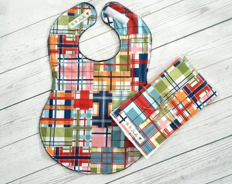 Full Coverage Baby Bib/ Burp Cloth- Michael Miller- Shore Thing- Madras