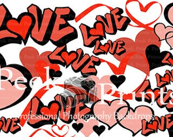 7ftx5ft Loved By Graffiti Red and Black- Vinyl Photography Backdrop- Valentines Day Photo Booth Background