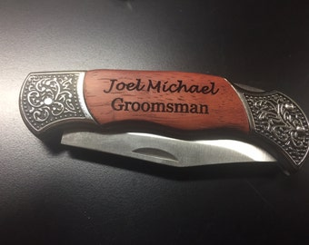 Personalized Fancy Rosewood Pocket Knife - Laser Engraved with YOUR NAME, Date, etc. - Free US shipping!