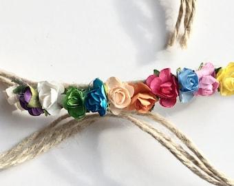 Rainbow Floral Tie back