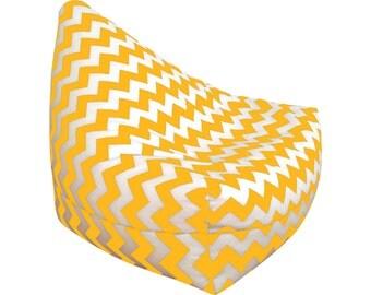 Bean Bag Chair Kids Room Decor Adult Lounge Chevron Yellow Zig
