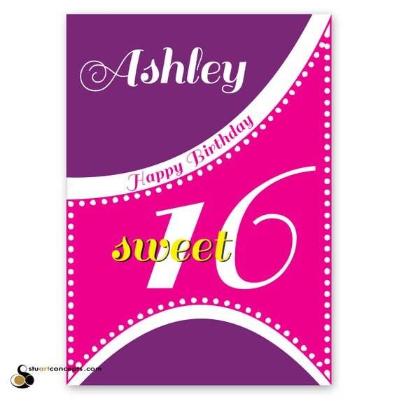 Sweet 16 Birthday Card For Girl Edit Name 16th Happy Birthday