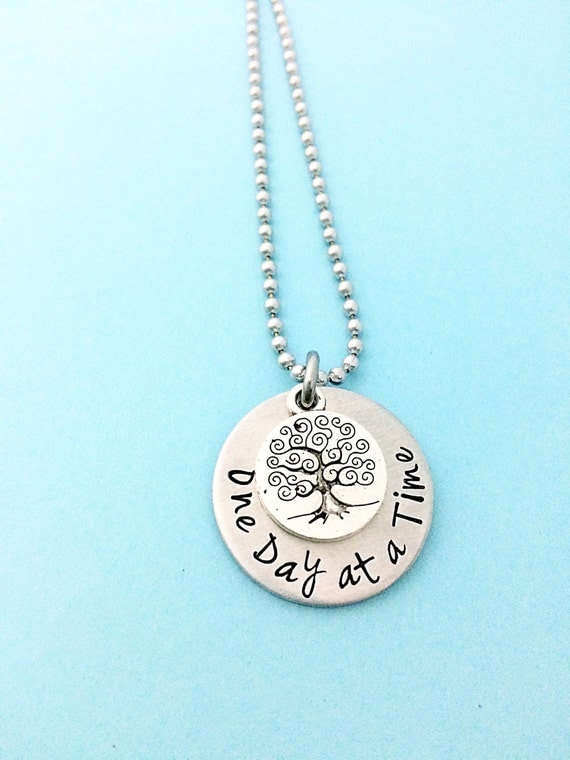 time, sobriety necklace, addiction recovery, one day at a time jewelry ...