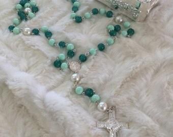 Green Rosary / Handmade Rosaries /Crystal Rosaries / Christmas Rosaries  / Rosarios de Cristal
