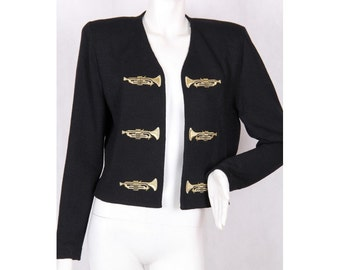 80s ST. JOHN exclusive Black wool blazer with embroidered gold trumpet size L