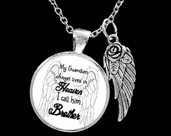 Memory Necklace, Brother Angel,My Guardian Angel Lives In Heaven I Call Him Brother, Sympathy Gift Remembrance Memorial Necklace