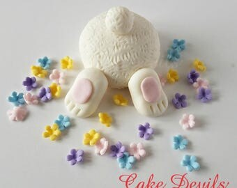 Easter Bunny Butt digging Cake Topper with Flowers, Carrots, and Butterflies, Bunny Cake Decorations, Butterfly, fondant, Easter Cake