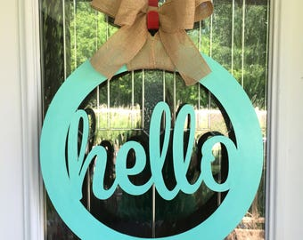 Hello door hanger, door hanger, door hangers, hello, front door decor, welcome, door sign