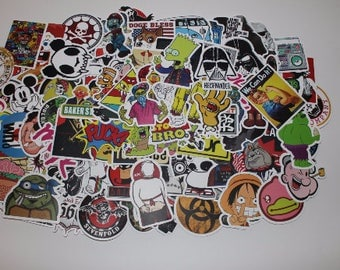 100 - Random Matte Cool Vinyl Sticker Decal Pack| Skateboard Stickers| Laptop Stickers| Car Stickers| Sticker Pack| Bike Stickers