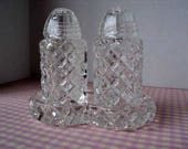 Crystal Salt and Pepper Shakers with Tray Cut Glass  Diamond Faceted Seasoning Set Fine Dining or Cottage Chic Design Elegant Table Setting