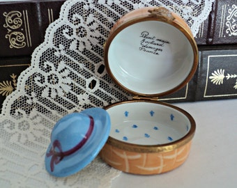 Limoges Trinket Box Rochard Peint Main Hand Painted Fine Porcelain Hat Box Made in France Lovely Blue Ladies Hat with Ribbon and Bow