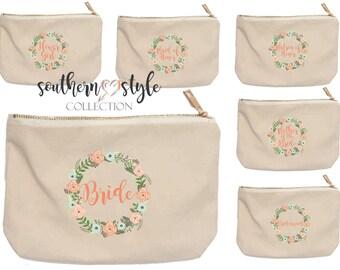 Canvas Bride Bridesmaid Zippered Costmetic Bag, Bridesmaid Gift, Wedding Party Makeup Bags