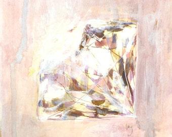 "Brilliant Cut Diamond, Diamond on its side, Diamond, Art, Acrylic, Watercolour, 6""x6"", 15cm x 15cm, Painting, Ink, Paper, Small, Wall Art"