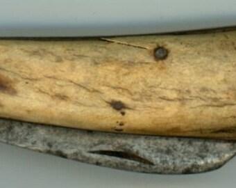 antique bone pocket knife primitive folding hand crafted vintage collectible jack knife