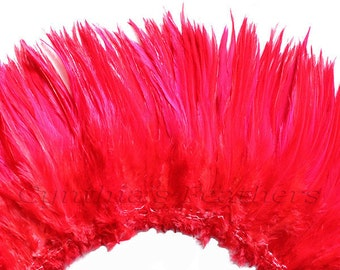 Wholesale 1/2 Yard, Strung Rooster Red Saddle Feathers (5-7 inches in length) for Crafting, Sewing, Wedding, Decoration SKU: 7A73