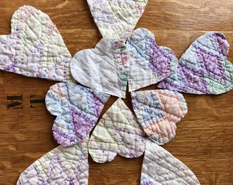 Vintage Quilt Hearts Upcycled Quilt, Repurposed Quilt, Cloth Valentine, Retro Decor, Scrapbooking, Sewing and Craft Supplies Ready to Ship