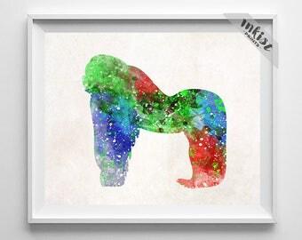 Gorilla Art, Gift For Her, Gorilla Print, Gorilla Watercolor, Animal Art print, Giclee Print, Gorilla Poster, Nursery Art, Gift For Him