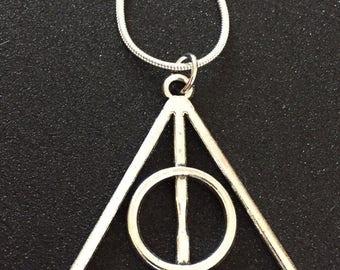 "Deathly Hallows Necklace Silver Deathly Hallows Charm Pendant on 20"" snake chain Wizard Hogwarts Harry Potterhead Gift Fandom"