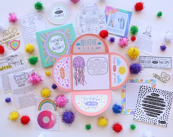 Mini 'Anxious and Awesome' Self-Care Kit | Small Gift | Self-Care Temporary Tattoos | Handmade with love | 21 + pieces