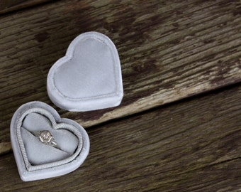 Heart Shaped Velvet Ring Box in Antique Style for Weddings, Proposals and Ring Storage