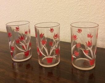 Set of 3 Vintage Juice Glasses