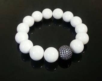 Tridacna Clam Shell White Bracelet, GradeAAA,12mm, Women's Bracelet, Sister's Bracelet, Friend's Bracelet, Gift for Mom, Gift for Her