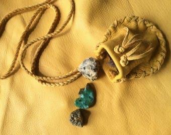 Medicine Bag, Gold  Deerskin Neck  Pouch on Braid Strap, Handmade  Leather Medicine Bag, Canadian Made