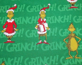 1 Fat Quarter The Grinch That Stole Christmas Cotton Fabric /  Fabric By The Yard