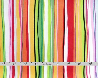 Colorful Striped Fabric, Benartex Sun-Kissed 3327 Michele D'Amore, Green, Gold, Pink, Red, Orange Striped Quilt Fabric, Cotton