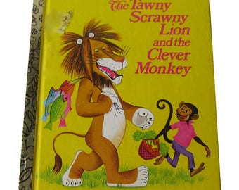The Tawny Scrawny Lion and he Clever Monkey / Little Golden Book / Illustrated Childrens Book / Story Book