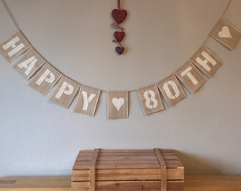80th Birthday Bunting Banner Vintage Hessian Burlap Rustic