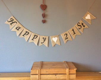 21st Birthday Bunting Banner Vintage Hessian Burlap Rustic