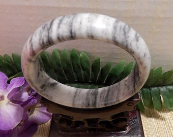 65mm Jade Bangle Bracelet Jewelry Crafts Supplies DIY Crafts Supplies Green White Jade