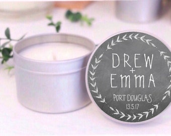 Black and White CHALKBOARD Personalised wedding favours / bomboniere / Place Card Soy candle tins by Mahina