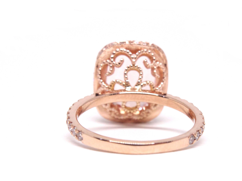 14K Rose Gold Oval Shape Morganite Diamond Engagement Ring Promise