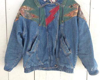 Vintage Denim Patchwork Jacket : Women's Size Medium