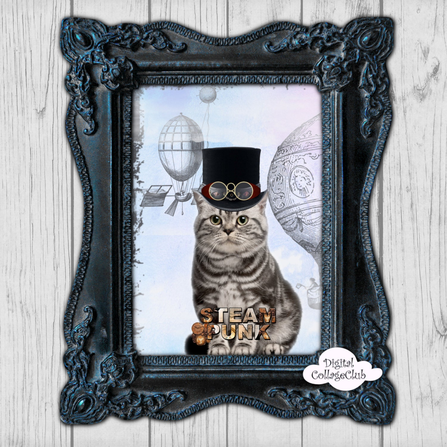 steampunk cat digital wall art print home office decor large. Black Bedroom Furniture Sets. Home Design Ideas