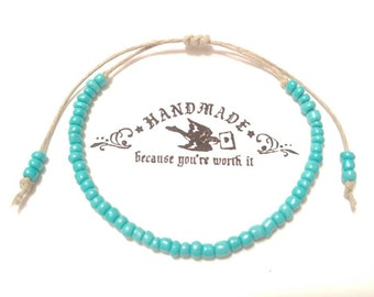 Custom Hemp Anklet Handmade, Anklet, Beaded Ankle Bracelet, Hemp Jewelry, Body Jewelry, Candmjewelrydesigns.