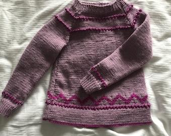 Girl's Jumper - hand knitted in Merino wool