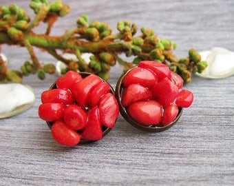 birthday gifts for sister gift earrings Coral earrings Coral studs earrings Boho earrings Taurus birthstone jewellery Coral jewellery gift