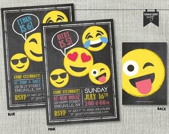 """Custom chalkboard style Emoji face invitations. Boy or girl, third, fourth, fifth, sixth, seventh, teen, any age. Digital or Printed 5"""" x 7"""""""