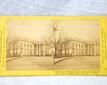 Antique Stereo Card - Washington DC White House - 1800s Stereograph Photography