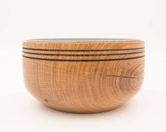 Oak bowl with baby blue interior