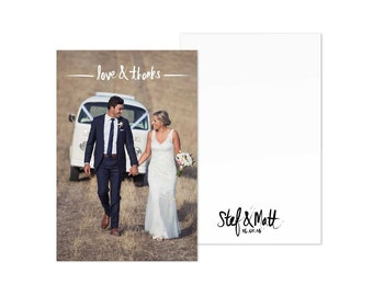 Photo Thank You Cards Wedding Card Digital Download Template LOVE & THANKS
